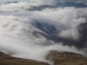 Clouds in the valley to the west of Helvellyn.